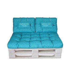 Lilalno Home Lot de coussins de palette 2. Set: (1x Sitzteil + 2x Rückenteil klein) aqua