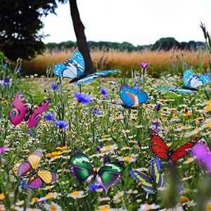Lot de 24 papillons de jardin avec piquets, décorations de jardin en plein air, papillons décoratifs pour pot de fleur/plante/cour/maisons d'été, accessoires de jardin féérique