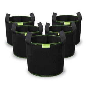Mactoou Lot de 5 sacs de culture épais non tissés avec poignées pour cultiver des arbres, des fleurs, des fruits, des légumes, 20 l