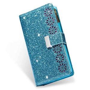 Miagon Fermeture éclair Briller Portefeuille Coque pour Xiaomi Redmi Note 10 4G,Étui Bling en Cuir Housse avec 9 Porte-Carte Flip Magnétique Support avec Poche Dragonne,Bleu