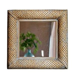 MYYINGBIN Miroir Mural De 60,5 Cm, Miroir De Maquillage Rétro avec Cadre en Bambou, Miroir Décoratif Antique pour Ferme De Porche De Couloir