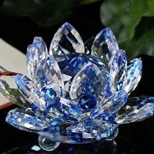 N/AB Bouquet de Fleurs de Lotus en Cristal – Artisanat Objet Décoration Moderne intérieure -Accessoires Deco pour la Maison,Cadeau pour Un Anniversaire, Un Mariage, Verre Cristaux,fêtes