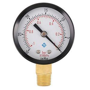 Nirmon 0 ~ -30inHg 0 ~ -1bar cadran Manometre de pression d'air barometre metre a echelle double cadran noir