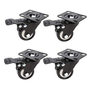 Omekn Pack de 4 roulettes de 2″avec roulettes pivotantes à Blocage de Frein avec Plateau supérieur et Chariot for Chariot de magasinage Robuste
