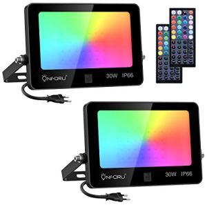 Onforu Lot de 2 Projecteurs LED RGB 30W, Dimmable Couleur Projecteurs avec Télécommande, IP66 Étanche RVB Spot Lampe, 20 Couleurs 6 Modes, Éxtérieur Spot Multicolore pour Jardin Soirée Paysage Cour