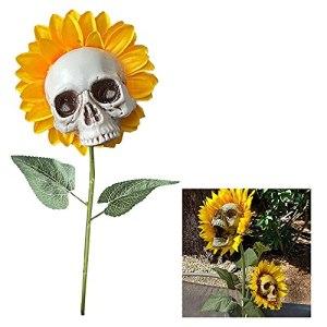 Outdoor Decoration Skull- Skull Head Simulation Sunflower Garden Decor Patio Lawn Yard Halloween Ornaments (A)