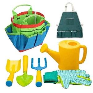 Outils de jardinage pour enfants Kids Beach Sandbox Toys Ensemble Équipement de jardinage Rake Spade Ensemble Plastique Cadeaux en plein air 7pcs