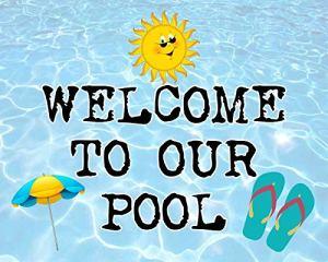 Plaque en métal vintage pour piscine Backyad, Welcome To Our Pool Hot Tub