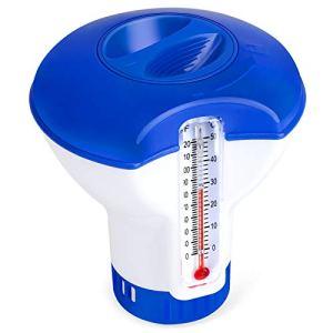 QacQoc Diffuseur Chlore Piscine avec Thermomètre, Distributeur Flottant Automatique, Doseur de Chlore pour Piscine de 5 Pouces, Distributeur de Produits Chimiques pour Piscine, Étang, Spa