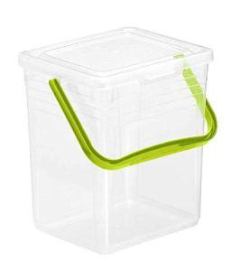 Rotho Powdy Boîte de Stockage 7L avec Couvercle et Poignée, Plastique (PP) sans BPA, Transparent / Vert, 5Kg/7L (24,0 X 20,0 X 25,5 cm)