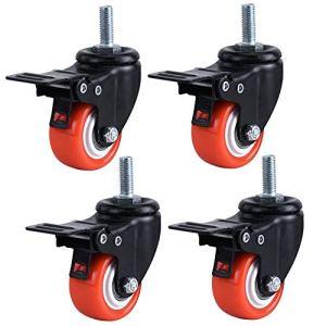Roues pivotantes pivotantes de 1,5 Pouce PU Roue de Roulette à Tige filetée à 360 degrés Orange avec Frein, M8 x 25 mm, capacité de Charge Totale de 200 kg, Paquet de 4
