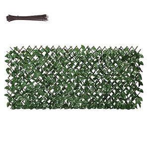 Sekey Haie Artificielle avec Feuilles, Clôture de Plantes Rétractable, pour Balcon Décor de Jardin, 1 x 2 m, Attache de Câble Attachée