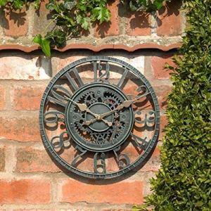 shangji Horloge Murale de Jardin extérieur Grand 30 cm engrenage Creux Vintage Effet Ardoise étanche extérieur intérieur Jardin Horloge Murale décorative clôture Jardin Ornement
