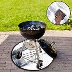 Tapis rond pour foyer de 71,1 cm – Résistant au feu – Déflecteur de chaleur – Pour barbecue extérieur, terrasse, herbe, patio, feux de camp