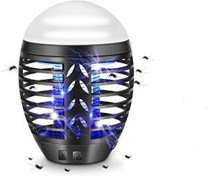 TDW Lampe anti-moustiques d'extérieur, répulsive électrique pour moustiques de camping, lampe portable avec moustiquaire 2 en 1 Lampe à LED