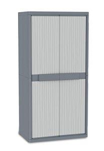 Terry Jumbo 2900 UW Armoire d'intérieur et d'extérieur à 2 portes, 4 étagères intérieures, Gris, 89,7×53,7×180 cm