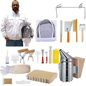 TTLFIE Kit d'outils d'apiculture 18 pièces, kit de démarrage d'apiculteur de luxe, veste de costume d'abeille avec voile et chapeau, kit de ruche, kit de fumeur d'abeille, outils de ruche
