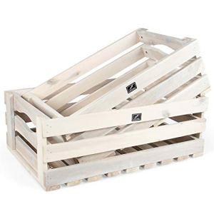 Vanage – Caisses / Cageots en bois pour Fruits, Légumes, Bois etc. – Caisse de rangement en bois d'acacia – Lot de 2 – idéales comme Cagettes pour le Jardin ou Objet déco – Plusieurs Coloris dispo !