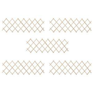 vidaXL 5X Bois de Sapin Clôture à Treillis Panneau de Clôture Barrière de Jardin Plate-Bande Allée Arrière-Cour Extérieur 180×60 cm