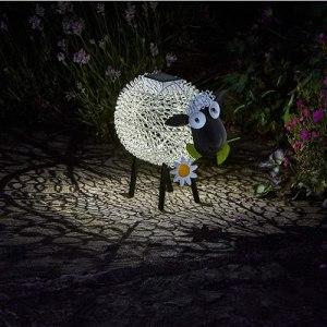 Vrtter Décoration de jardin en forme de mouton – Lampe solaire extérieure – Étanche – 7 modes – Pour intérieur/extérieur – Pour jardin, terrasse, cour, famille, fête, mariage, décoration de vacances