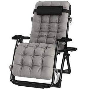 WOGQX Chaise Inclinable Extra Large, Chaises Longues Pliantes Zero Gravity Chaises Longues De Jardin avec Coussin en Coton Amovible, pour Patio Garden Beach Pool