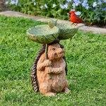 woyada Abreuvoir sculpté en forme de hérisson, mangeoire à oiseaux en résine, décoration de jardin