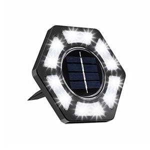 Wuawtyli Lumière Solaire Extérieur Jardin Au Sol Extérieur 12 LED 6500K Blanc Froid Etanche IP67 Spot Solaire Extérieur Chemin Terrasse Cour Lampe Solaire Renforcé,Batterie intégrée 600mAh