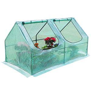 Yorbay Serre de Jardin Tunnel Mini Serre à Tomates Plastique PE Tente abri 2 fenêtres avec Zip pour Balcon Terrasse 120 x 60 x 60 cm