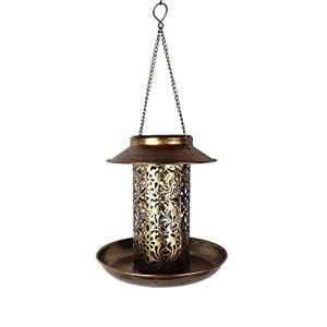 Yousiju Mangeoire à Oiseaux à énergie Solaire lumière étanche Vintage Suspendu extérieur Lampe Solaire Forme capteur contrôle lumière de Jardin Solaire