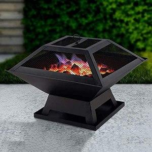 YQZ Foyer extérieur, Foyer à Bois carré en métal, réchaud de Camping avec Pare-étincelles, Table de Gril de Poker, brasero