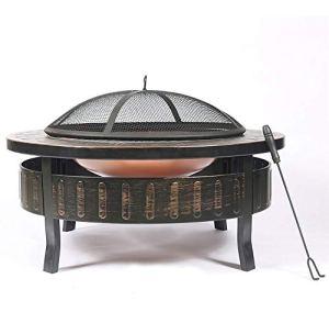 ZOUJUN De Jardin en métal Brasier Brazier Couverture arrière Able Patio avec Spark Chauffage extérieur Table intérieur et extérieur Multifonctionnel Poêle Charbon (Taille: 32×18 Pouces)