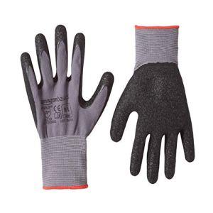 Amazon Basics Gants de travail enduits de latex Doublure en fibre de nylon Gris Taille 9 L 24 paires
