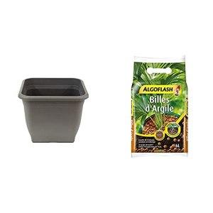 greemotion Pot de Fleurs carré en Plastique 58 x 58 cm 76,5L – Pot pour Plantes extérieures et intérieures – Pot de Jardin Anthracite & ALGOFLASH Billes d'argile, Limite l'évaporation d'eau, 6 L