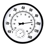 Hotaden Hygromètre de thermomètre extérieur intérieur, thermomètre météo Mural Suspendu Rond, teneur en humidité de la température de pointeur pour la Serre de Bureau (Noir et Blanc)