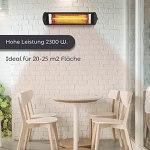 KUMTEL Radiateur infrarouge 2300 W, installation murale et plafond, étanche IP55, 5 niveaux de puissance, chauffage de terrasse, noir