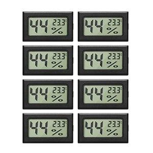 Lot de 8 mini-hygromètres thermomètres Moniteur de jauge d'humidité intérieur numérique avec capteur de température pour voitures à effet de serre, bureau à domicile, Celsius (° C)
