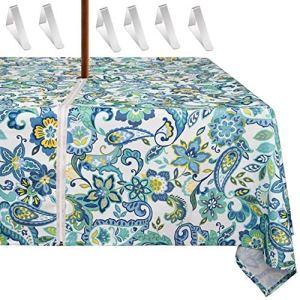 MKISHINE Nappe de Table étanche pour Parasol+6 Pinces pour Nappe,éviter de Retirer Le Parasol,Solide et Pratique sur Une Table avec Parasol au Centre (60 * 84 Rectangle, 2)