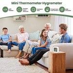 QeeFop Mini LCD Thermomètre Hygromètre Interieur [3 Pièces] Hygromètre Humidité Température Numérique avec Indication du Niveau de Confort pour Salon Entrepôt Chambre de Bébé Vestiaire