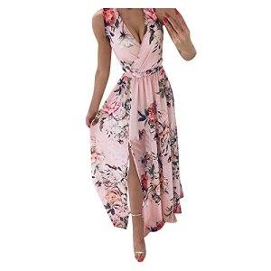 Robe Grandes Tailles Dames Fleurs d'été Longue Robe élégante pour Femmes potelées col en V Robes à Manches Courtes Robes d'été légères (Pink,M)