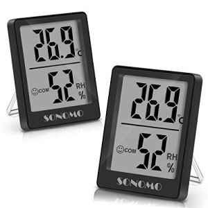 SONOMO Lot de 2 thermomètres hygromètres, thermomètres intérieurs, hygromètres, hygromètres, avec haute précision, pour l'intérieur, chambre de bébé, salon, bureau – Noir