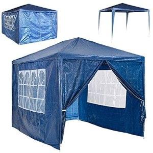 Tente d'auvent imperméable de chapiteau de Jardin, Gazebo extérieur Bleu 3x4M avec 4 parois latérales Amovibles
