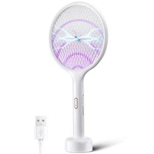 YISSVIC Raquette Anti-moustiques Électrique 4000V Rechargeable avec Base de Chargement Contre Moustiques Mouches Insectes Volants