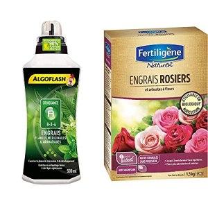 ALGOFLASH Engrais Plantes Médicinales & Aromatiques A Croissance 500 ml, ALITHEA500 & Naturen Engrais Rosiers et Arbustes A Fleurs 1,5 kg