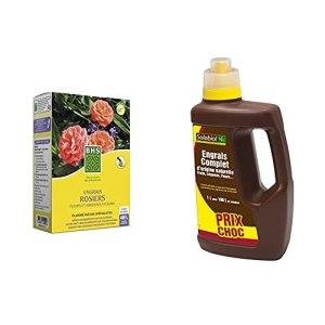 BHS ESF800 Engrais Rosiers Arbustes A Fleurs | 800 g | Soit 400 L | Forte Teneur & Solabiol SOLICOMP1 Engrais Complet Liquide 1L – Engrais universel | Utilisable en Agriculture Biologique