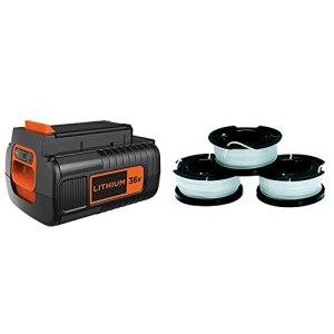 BLACK+DECKER Batterie Lithium 36V 2Ah & Lot de 3 Bobines de Rechange pour Coupe-Bordures, Bobine Reflex Plus A Déroulement Automatique, 3×10 m de Fil en Nylon Transparent et Résistant, Fil de ⌀1,5 mm