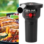 BOLORAMO Fan de barbecueVentilateur de Barbecue, Ventilateur de Gril alimenté par Batterie, Facile à Utiliser, Compact en PP et en Alliage d'aluminium pour Le Camping de Pique-Nique en Plein air