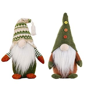 Christmas Gnomes Plush Elf Figurine Knitted Faceless Doll Xmas Tabletop Decorations 2PCS