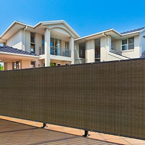 Cisvio Clôture de confidentialité extérieure 1,8 x 1,5 m avec œillets pour terrasse, marron