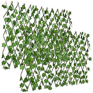 DearHouse Lot de 2 clôtures brise-vue, feuilles de lierre artificielles extensibles/extensibles pour balcon, terrasse, extérieur, clôture décorative (feuilles d'un seul côté)