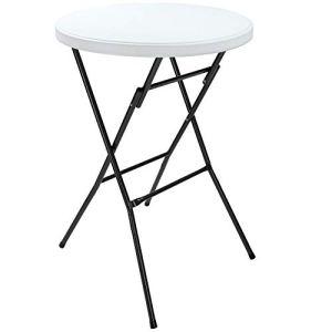 Deuba Table Haute de Bar Mange-Debout Ø 72 cm Blanc Table Haute Pliante 110 cm Table de bistrot Jardin extérieur
